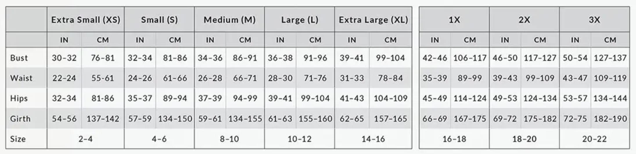 Women's Capezio Bodywear Size Guide
