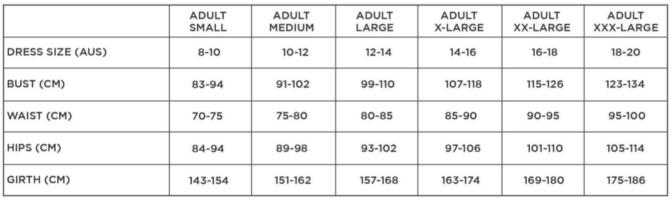 Studio 7 Adult Sizing Chart
